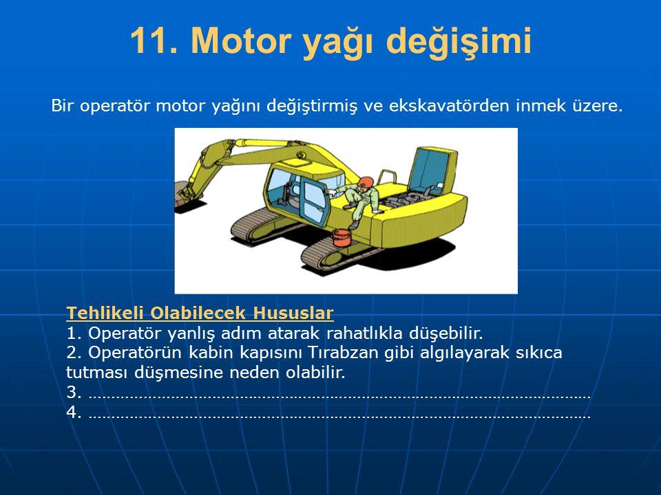 11. Motor yağı değişimi Tehlikeli Olabilecek Hususlar 1. Operatör yanlış adım atarak rahatlıkla düşebilir. 2. Operatörün kabin kapısını Tırabzan gibi