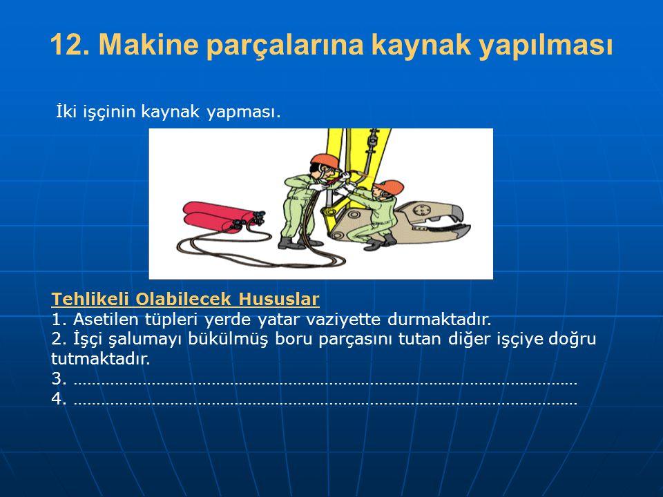12. Makine parçalarına kaynak yapılması Tehlikeli Olabilecek Hususlar 1. Asetilen tüpleri yerde yatar vaziyette durmaktadır. 2. İşçi şalumayı bükülmüş