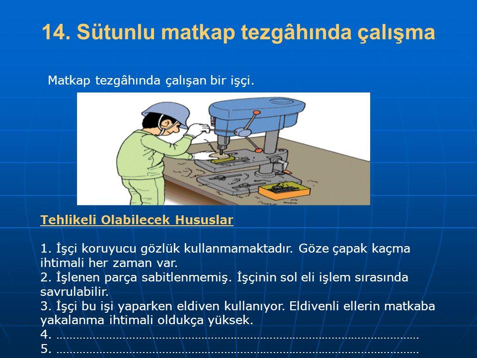 14. Sütunlu matkap tezgâhında çalışma Tehlikeli Olabilecek Hususlar 1. İşçi koruyucu gözlük kullanmamaktadır. Göze çapak kaçma ihtimali her zaman var.