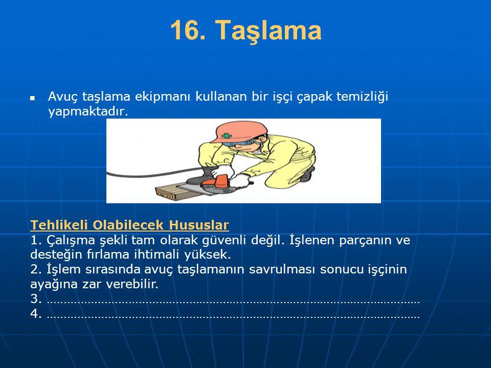 16. Taşlama   Avuç taşlama ekipmanı kullanan bir işçi çapak temizliği yapmaktadır. Tehlikeli Olabilecek Hususlar 1. Çalışma şekli tam olarak güvenli
