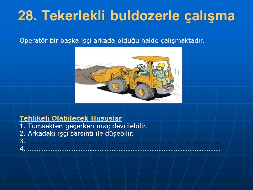 28. Tekerlekli buldozerle çalışma Operatör bir başka işçi arkada olduğu halde çalışmaktadır. Tehlikeli Olabilecek Hususlar 1. Tümsekten geçerken araç