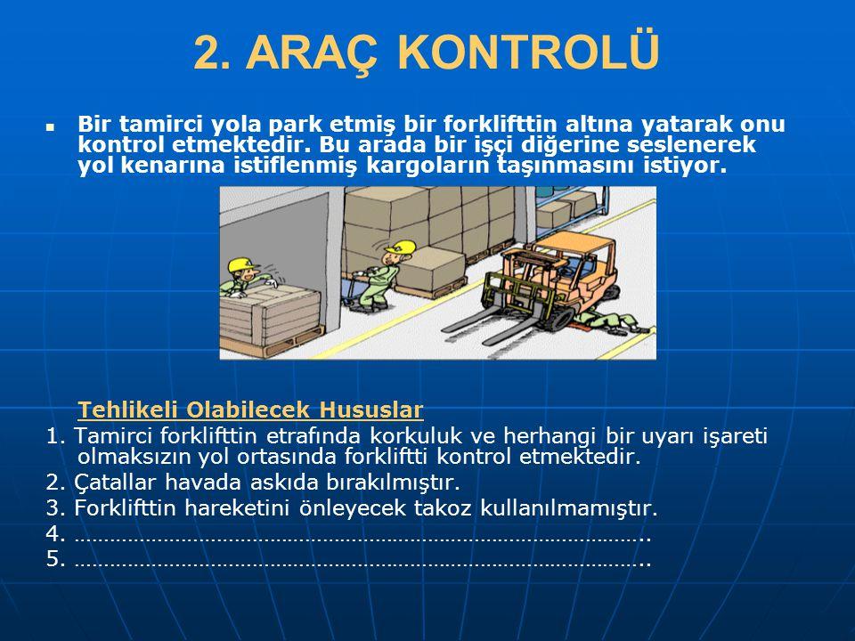 2. ARAÇ KONTROLÜ   Bir tamirci yola park etmiş bir forklifttin altına yatarak onu kontrol etmektedir. Bu arada bir işçi diğerine seslenerek yol kena