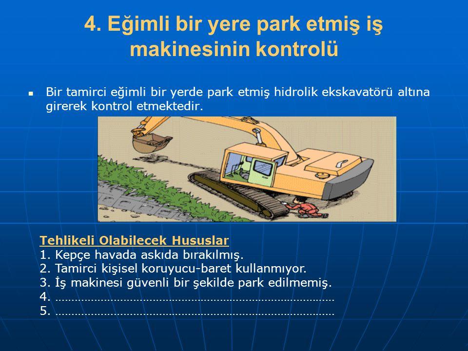 4. Eğimli bir yere park etmiş iş makinesinin kontrolü   Bir tamirci eğimli bir yerde park etmiş hidrolik ekskavatörü altına girerek kontrol etmekted