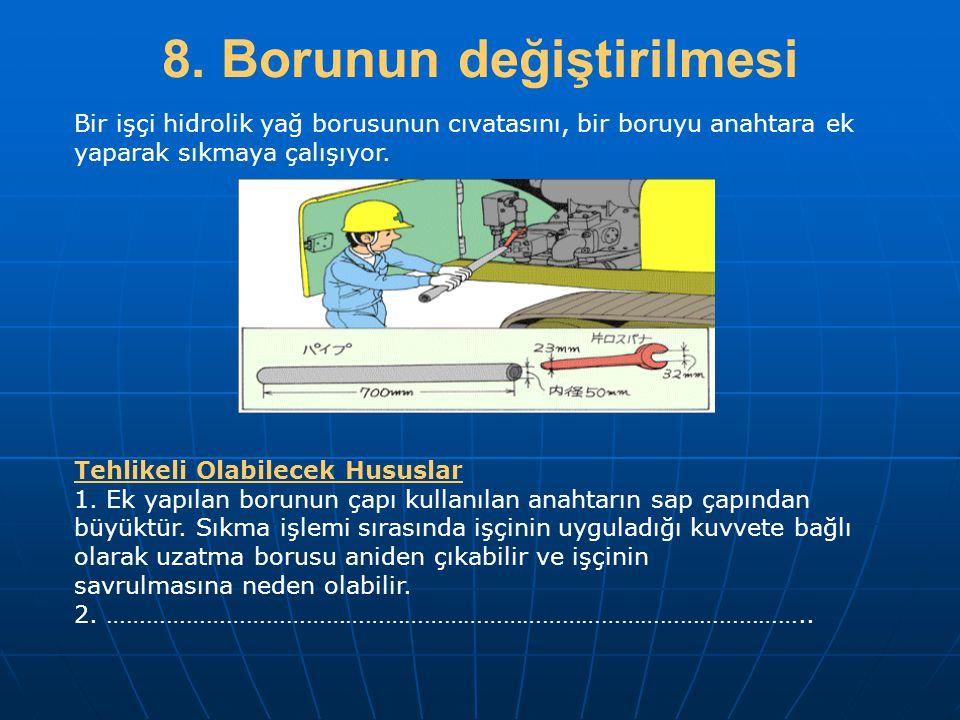 8. Borunun değiştirilmesi Tehlikeli Olabilecek Hususlar 1. Ek yapılan borunun çapı kullanılan anahtarın sap çapından büyüktür. Sıkma işlemi sırasında