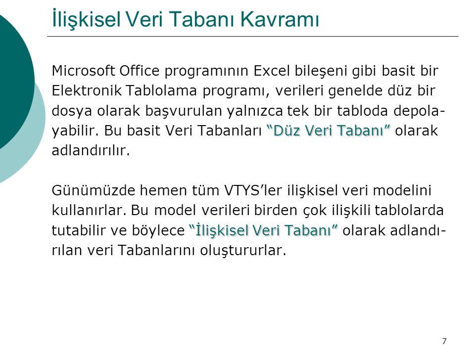 7 İlişkisel Veri Tabanı Kavramı Microsoft Office programının Excel bileşeni gibi basit bir Elektronik Tablolama programı, verileri genelde düz bir dos