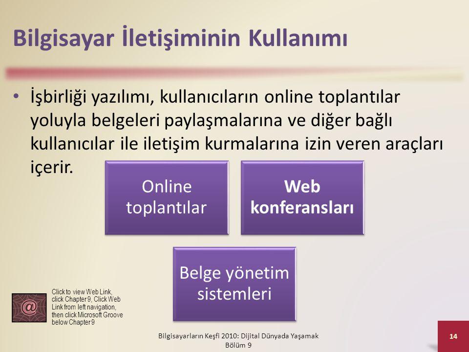 Bilgisayar İletişiminin Kullanımı • İşbirliği yazılımı, kullanıcıların online toplantılar yoluyla belgeleri paylaşmalarına ve diğer bağlı kullanıcılar