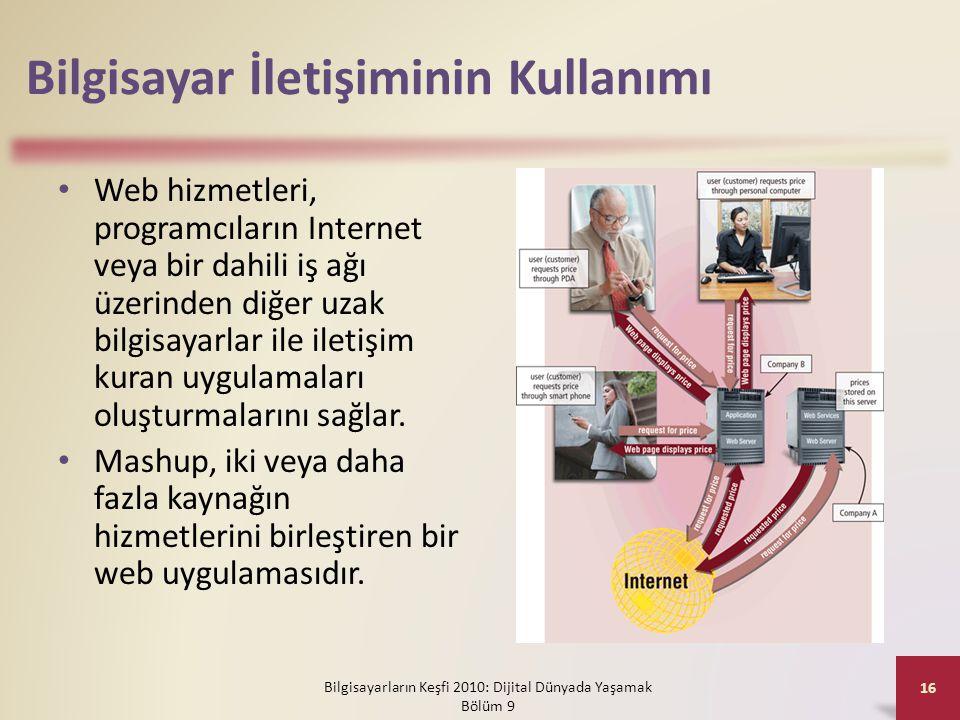Bilgisayar İletişiminin Kullanımı • Web hizmetleri, programcıların Internet veya bir dahili iş ağı üzerinden diğer uzak bilgisayarlar ile iletişim kur