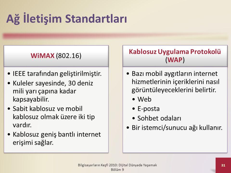 Ağ İletişim Standartları WiMAX (802.16) •IEEE tarafından geliştirilmiştir. •Kuleler sayesinde, 30 deniz mili yarı çapına kadar kapsayabilir. •Sabit ka