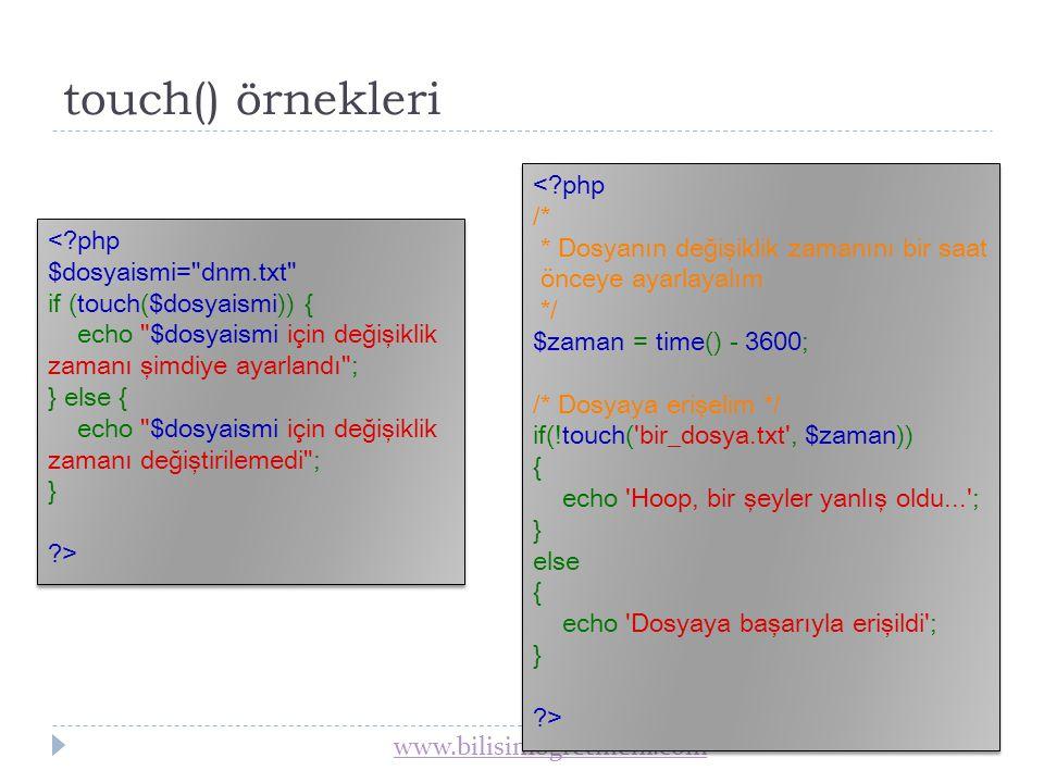 www.bilisimogretmeni.com Dosya Silme  unlink(); Bir dosyayı siler.