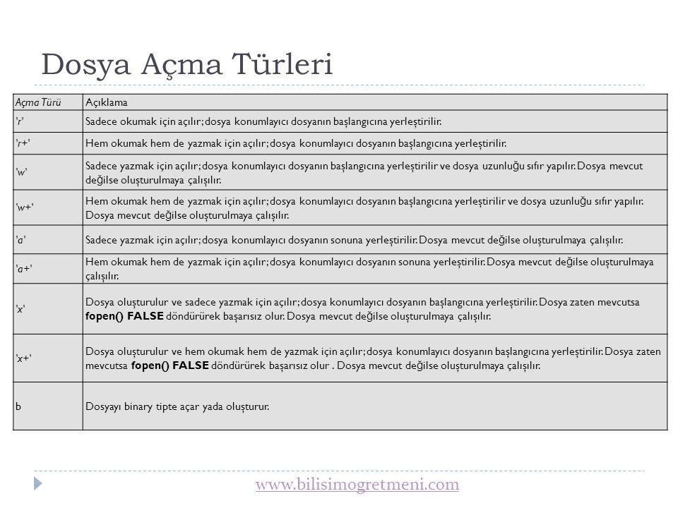 www.bilisimogretmeni.com Dosya Açma Örnekleri 