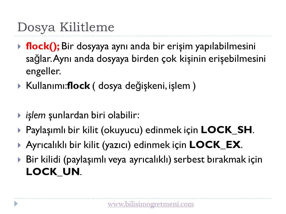 www.bilisimogretmeni.com flock() örneği 
