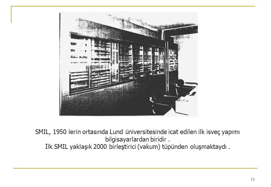 13 SMIL, 1950 lerin ortasında Lund üniversitesinde icat edilen ilk isveç yapımı bilgisayarlardan biridir. İlk SMIL yaklaşık 2000 birleştirici (vakum)