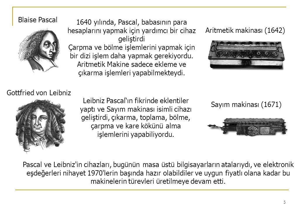 5 Blaise Pascal Aritmetik makinası (1642) 1640 yılında, Pascal, babasının para hesaplarını yapmak için yardımcı bir cihaz geliştirdi Çarpma ve bölme işlemlerini yapmak için bir dizi işlem daha yapmak gerekiyordu.
