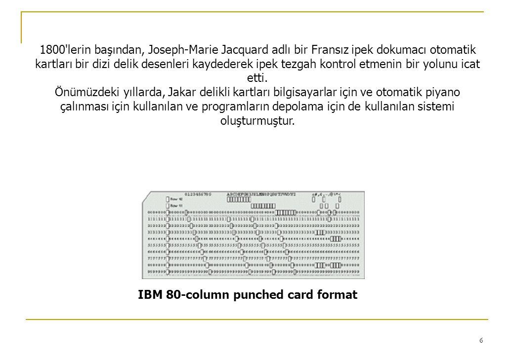 6 IBM 80-column punched card format 1800 lerin başından, Joseph-Marie Jacquard adlı bir Fransız ipek dokumacı otomatik kartları bir dizi delik desenleri kaydederek ipek tezgah kontrol etmenin bir yolunu icat etti.