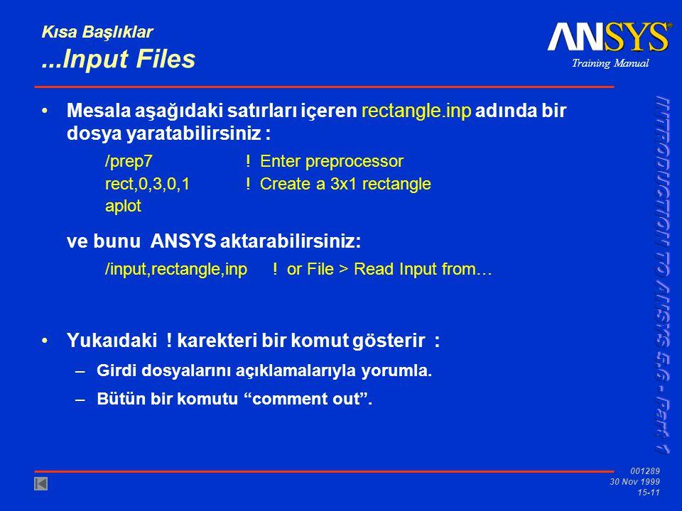 Training Manual 001289 30 Nov 1999 15-11 Kısa Başlıklar...Input Files •Mesala aşağıdaki satırları içeren rectangle.inp adında bir dosya yaratabilirsin