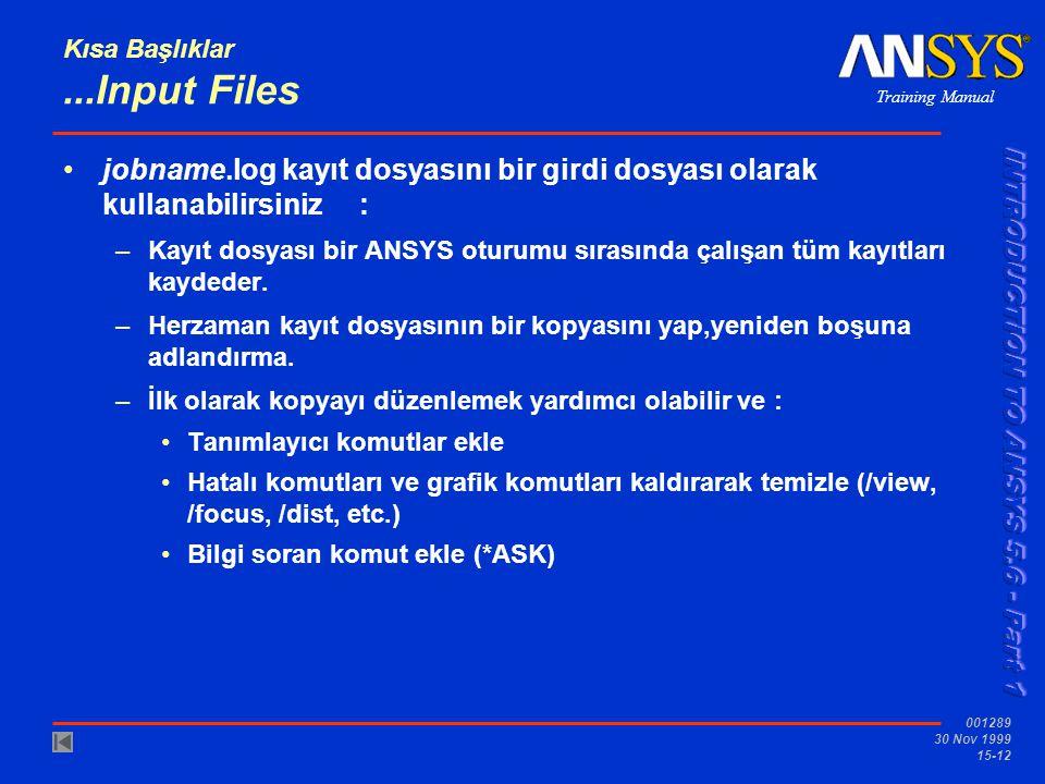 Training Manual 001289 30 Nov 1999 15-12 Kısa Başlıklar...Input Files •jobname.log kayıt dosyasını bir girdi dosyası olarak kullanabilirsiniz : –Kayıt