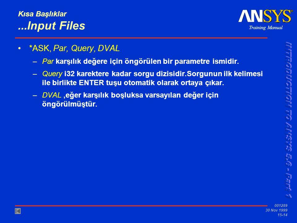 Training Manual 001289 30 Nov 1999 15-14 Kısa Başlıklar...Input Files •*ASK, Par, Query, DVAL –Par karşılık değere için öngörülen bir parametre ismidi