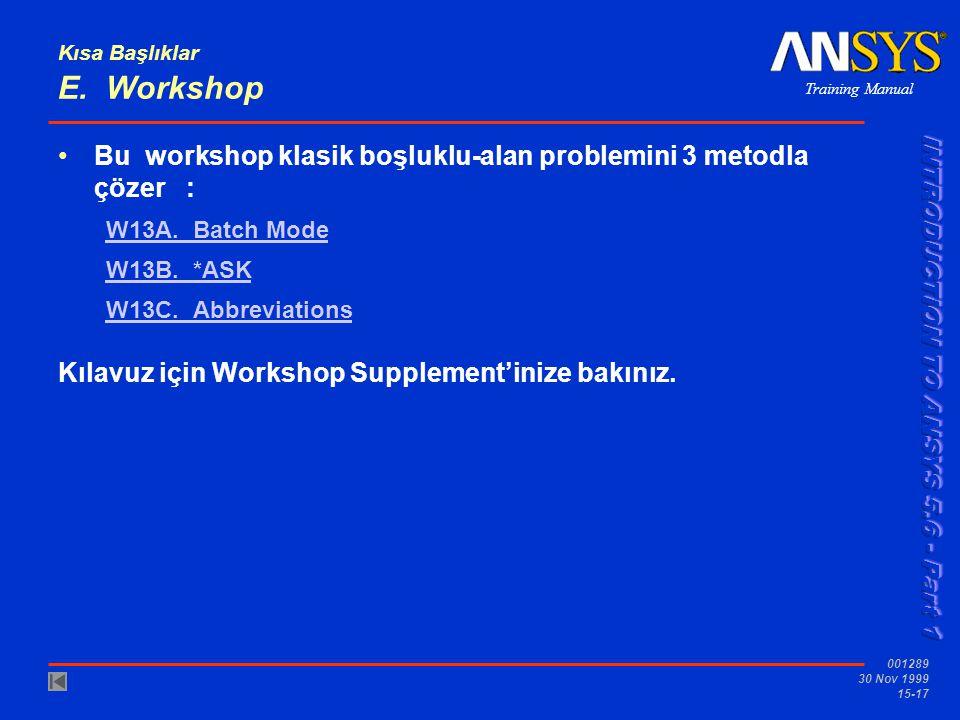 Training Manual 001289 30 Nov 1999 15-17 Kısa Başlıklar E. Workshop •Bu workshop klasik boşluklu-alan problemini 3 metodla çözer : W13A. Batch Mode W1