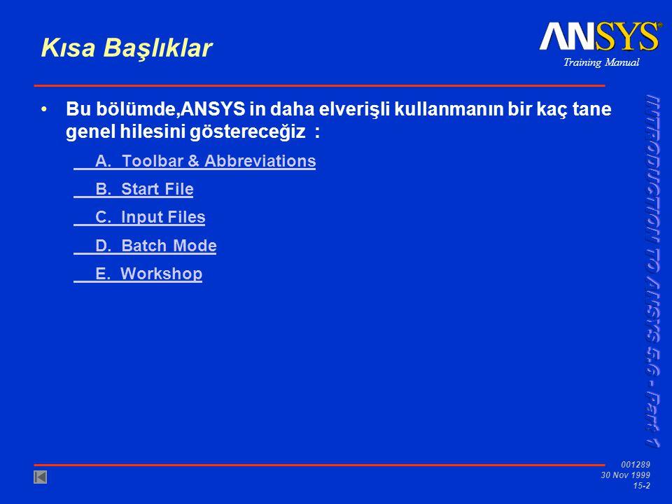 Training Manual 001289 30 Nov 1999 15-2 Kısa Başlıklar •Bu bölümde,ANSYS in daha elverişli kullanmanın bir kaç tane genel hilesini göstereceğiz : A. T