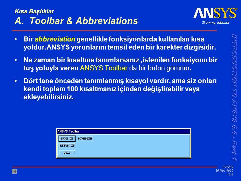Training Manual 001289 30 Nov 1999 15-3 Kısa Başlıklar A. Toolbar & Abbreviations •Bir abbreviation genellikle fonksiyonlarda kullanılan kısa yoldur.A