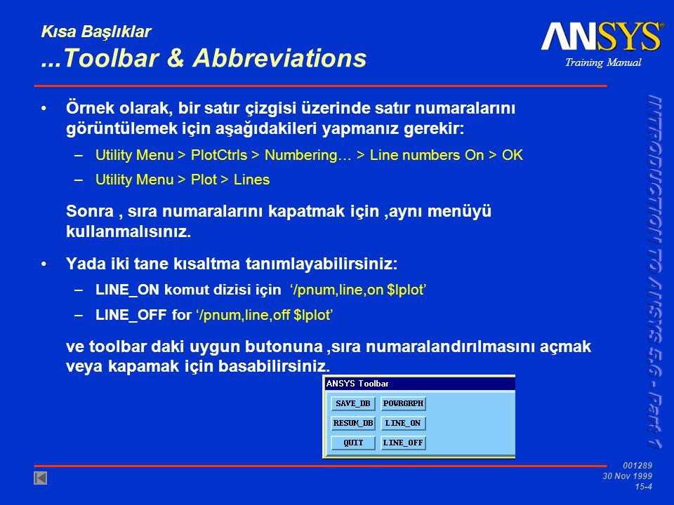 Training Manual 001289 30 Nov 1999 15-4 Kısa Başlıklar...Toolbar & Abbreviations •Örnek olarak, bir satır çizgisi üzerinde satır numaralarını görüntül