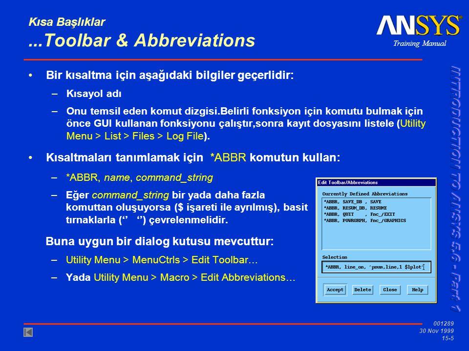 Training Manual 001289 30 Nov 1999 15-5 Kısa Başlıklar...Toolbar & Abbreviations •Bir kısaltma için aşağıdaki bilgiler geçerlidir: –Kısayol adı –Onu t