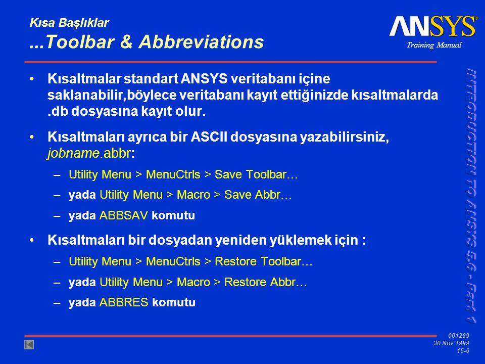 Training Manual 001289 30 Nov 1999 15-6 Kısa Başlıklar...Toolbar & Abbreviations •Kısaltmalar standart ANSYS veritabanı içine saklanabilir,böylece ver