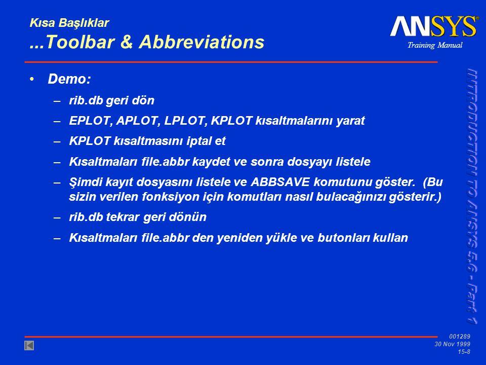 Training Manual 001289 30 Nov 1999 15-8 Kısa Başlıklar...Toolbar & Abbreviations •Demo: –rib.db geri dön –EPLOT, APLOT, LPLOT, KPLOT kısaltmalarını ya