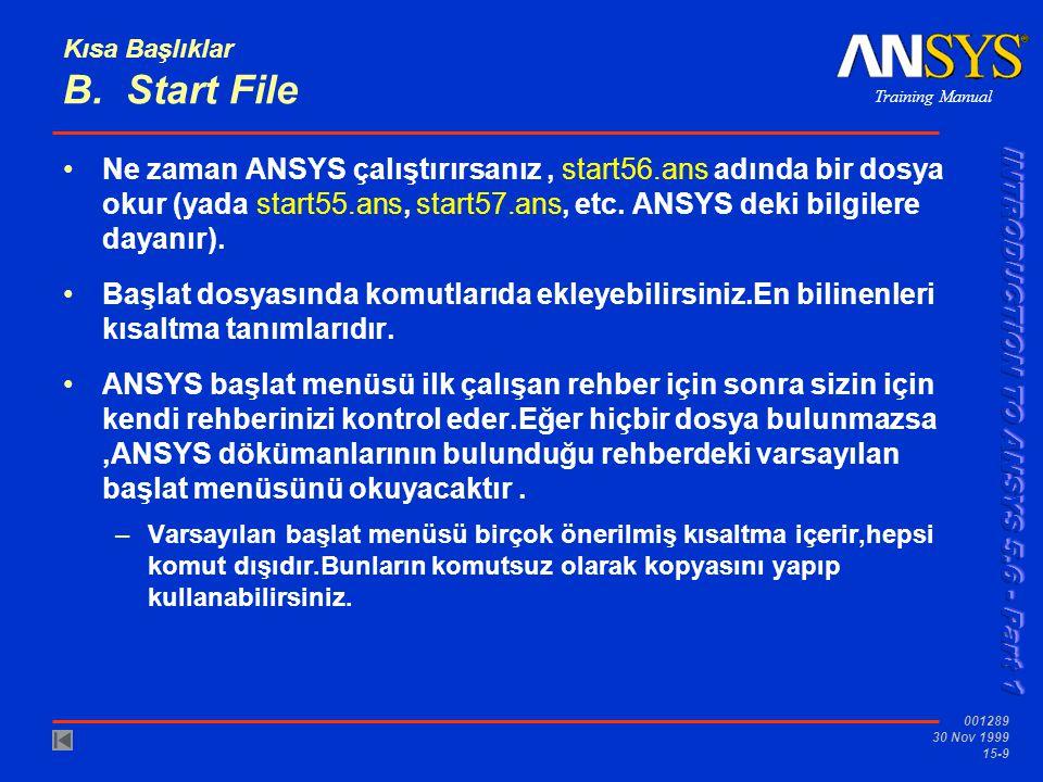 Training Manual 001289 30 Nov 1999 15-9 Kısa Başlıklar B. Start File •Ne zaman ANSYS çalıştırırsanız, start56.ans adında bir dosya okur (yada start55.