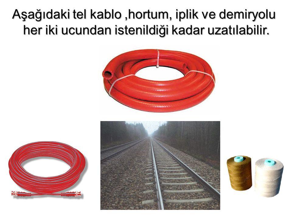 Aşağıdaki tel kablo,hortum, iplik ve demiryolu her iki ucundan istenildiği kadar uzatılabilir.