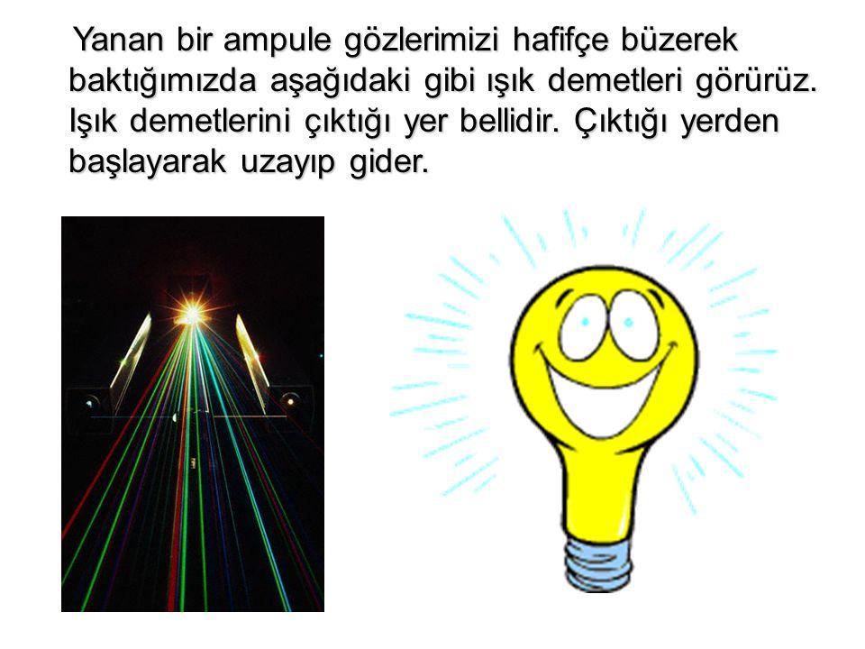 Yanan bir ampule gözlerimizi hafifçe büzerek baktığımızda aşağıdaki gibi ışık demetleri görürüz. Işık demetlerini çıktığı yer bellidir. Çıktığı yerden
