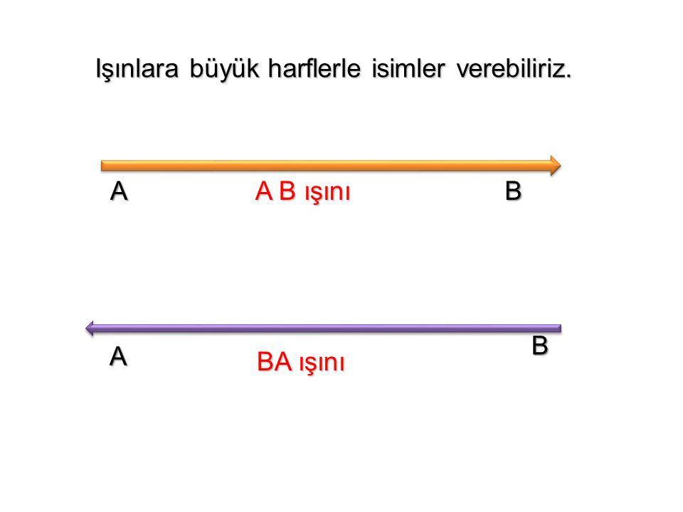 Işınlara büyük harflerle isimler verebiliriz. Işınlara büyük harflerle isimler verebiliriz. A B A B ışını A B ışını B A BA ışını BA ışını