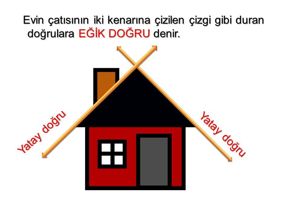 Evin çatısının iki kenarına çizilen çizgi gibi duran doğrulara EĞİK DOĞRU denir. Evin çatısının iki kenarına çizilen çizgi gibi duran doğrulara EĞİK D