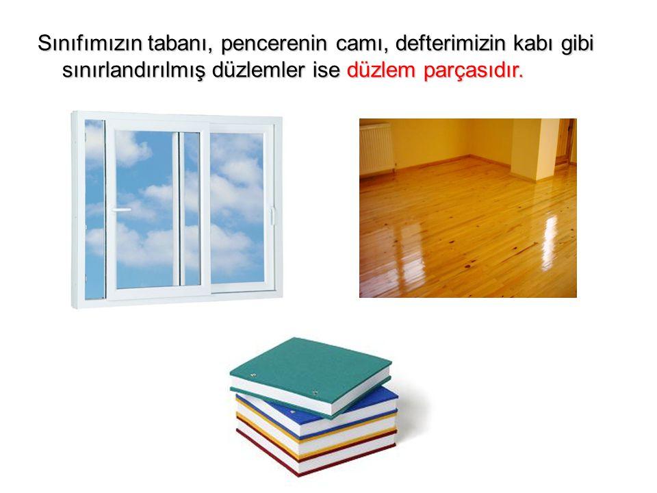 Sınıfımızın tabanı, pencerenin camı, defterimizin kabı gibi sınırlandırılmış düzlemler ise düzlem parçasıdır.