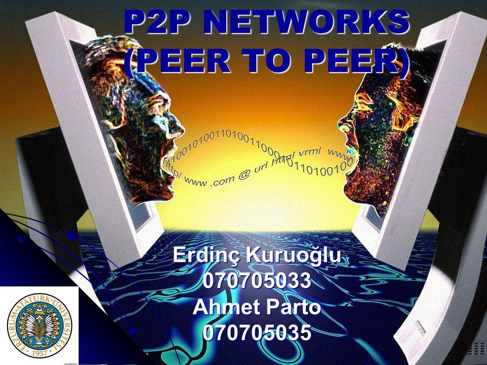 P2P NETWORKS (PEER TO PEER) Erdinç Kuruoğlu 070705033 Ahmet Parto 070705035