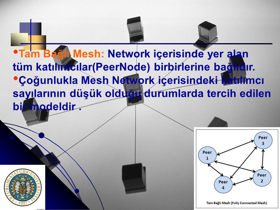 • • Tam Bağlı Mesh: Network içerisinde yer alan tüm katılımcılar(PeerNode) birbirlerine bağlıdır. •. • Çoğunlukla Mesh Network içerisindeki katılımcı
