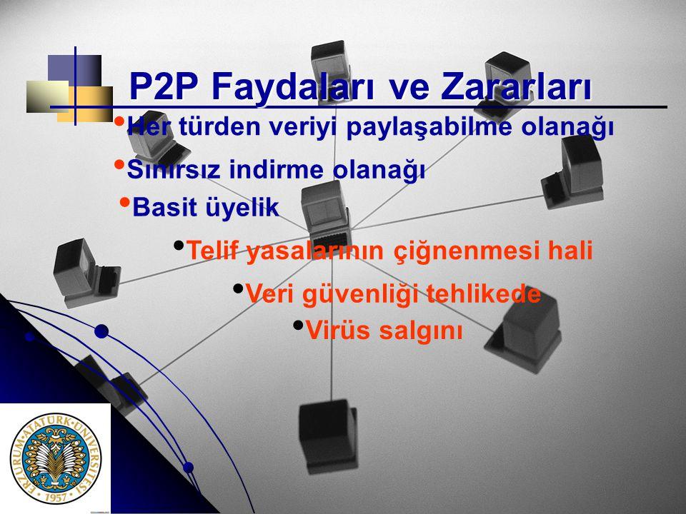 P2P Faydaları ve Zararları • • Her türden veriyi paylaşabilme olanağı • • Sınırsız indirme olanağı • • Basit üyelik • • Veri güvenliği tehlikede • • V
