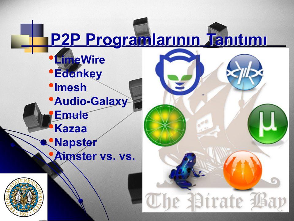 P2P Programlarının Tanıtımı P2P Programlarının Tanıtımı • • LimeWire • • Edonkey • • Imesh • • Audio-Galaxy • • Emule • • Kazaa • • Napster • • Aimste