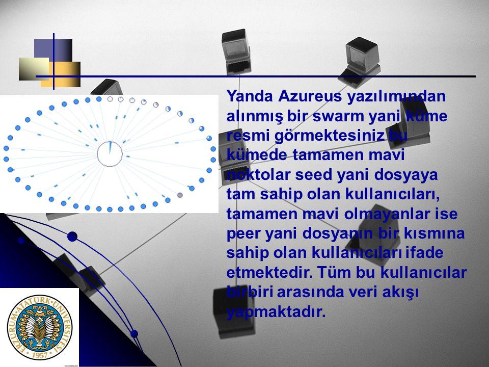 Yanda Azureus yazılımından alınmış bir swarm yani küme resmi görmektesiniz bu kümede tamamen mavi noktolar seed yani dosyaya tam sahip olan kullanıcıl