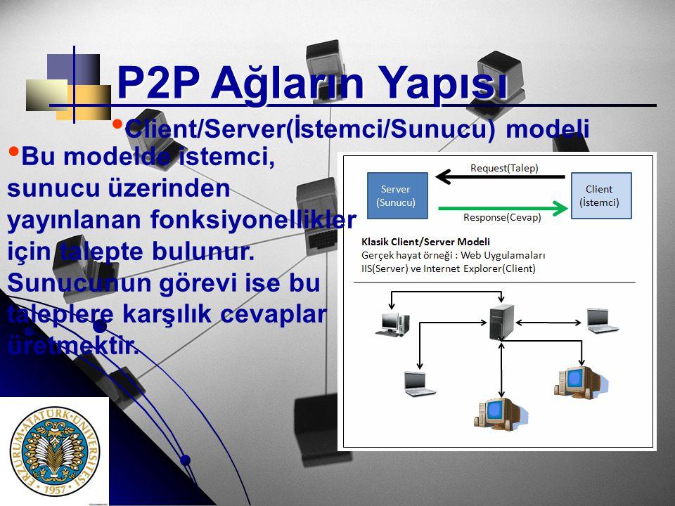 P2P Ağların Yapısı • • Client/Server(İstemci/Sunucu) modeli • • Bu modelde istemci, sunucu üzerinden yayınlanan fonksiyonellikler için talepte bulunur