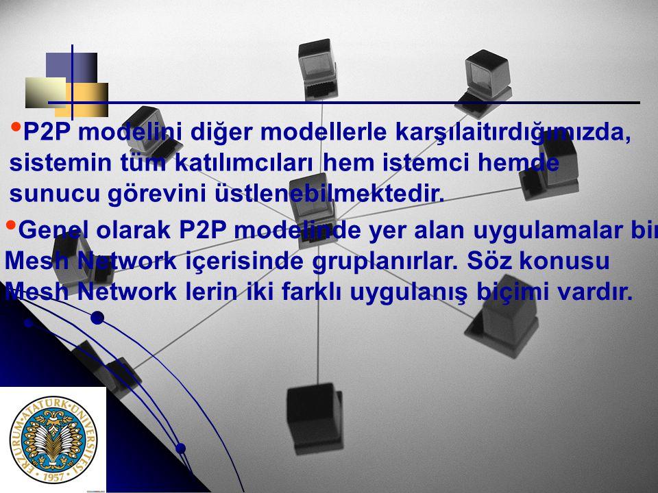 • • P2P modelini diğer modellerle karşılaitırdığımızda, sistemin tüm katılımcıları hem istemci hemde sunucu görevini üstlenebilmektedir. • • Genel ola