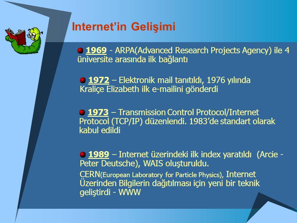 Internet'in Gelişimi 1969 - ARPA(Advanced Research Projects Agency) ile 4 üniversite arasında ilk bağlantı 1972 – Elektronik mail tanıtıldı, 1976 yılı