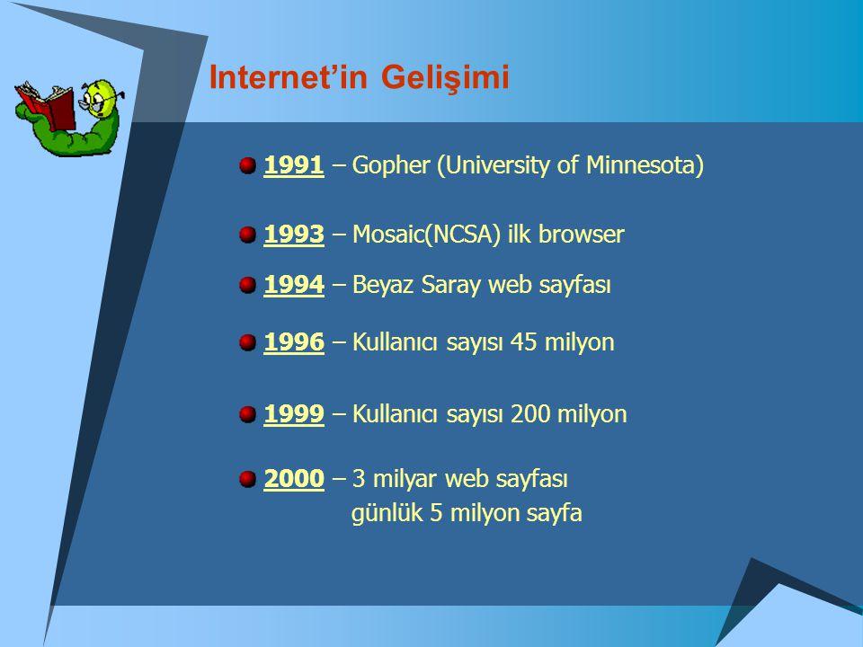 Internet'in Gelişimi 1991 – Gopher (University of Minnesota) 1993 – Mosaic(NCSA) ilk browser 1994 – Beyaz Saray web sayfası 1996 – Kullanıcı sayısı 45