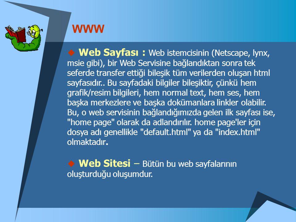 WWW  Web Sayfası : Web istemcisinin (Netscape, lynx, msie gibi), bir Web Servisine bağlandıktan sonra tek seferde transfer ettiği bileşik tüm veriler