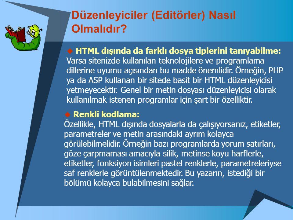 Düzenleyiciler (Editörler) Nasıl Olmalıdır?  HTML dışında da farklı dosya tiplerini tanıyabilme: Varsa sitenizde kullanılan teknolojilere ve programl
