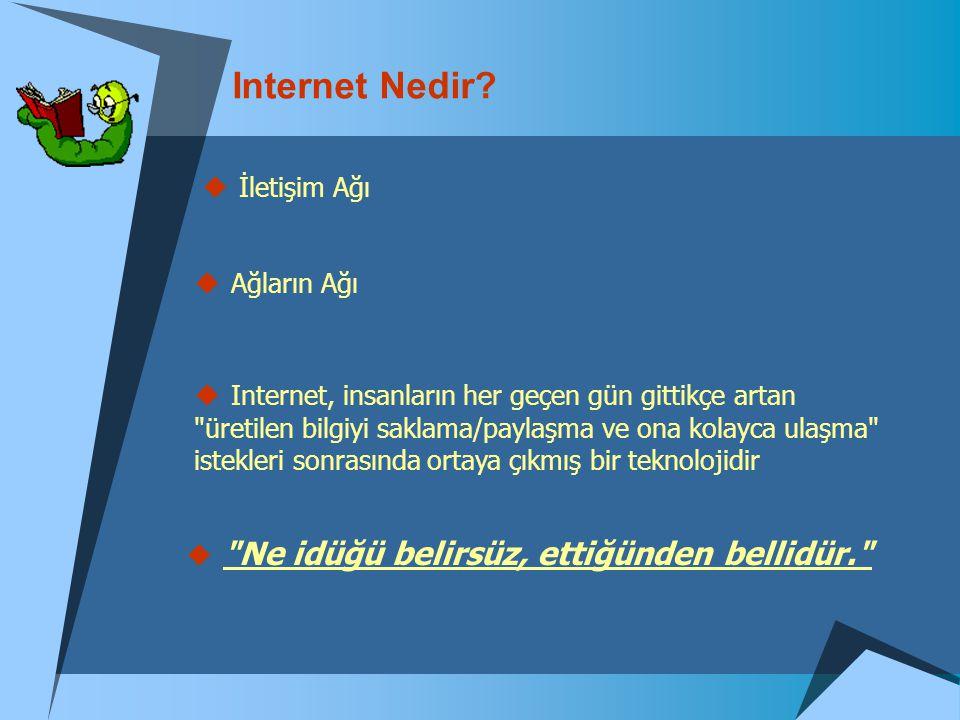 Internet Nedir?  İletişim Ağı  Ağların Ağı  Internet, insanların her geçen gün gittikçe artan