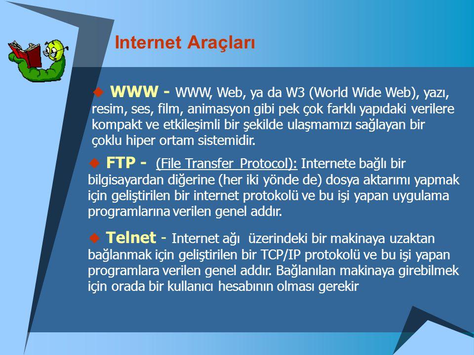 Internet Araçları  WWW - WWW, Web, ya da W3 (World Wide Web), yazı, resim, ses, film, animasyon gibi pek çok farklı yapıdaki verilere kompakt ve etki