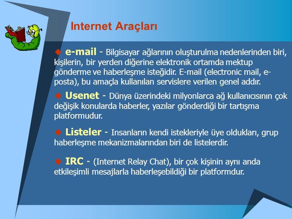 Internet Araçları  e-mail - Bilgisayar ağlarının oluşturulma nedenlerinden biri, kişilerin, bir yerden diğerine elektronik ortamda mektup gönderme ve