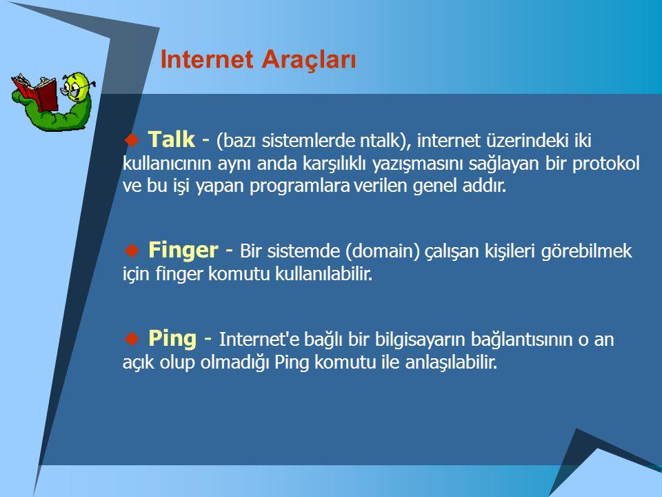Internet Araçları  Talk - (bazı sistemlerde ntalk), internet üzerindeki iki kullanıcının aynı anda karşılıklı yazışmasını sağlayan bir protokol ve bu