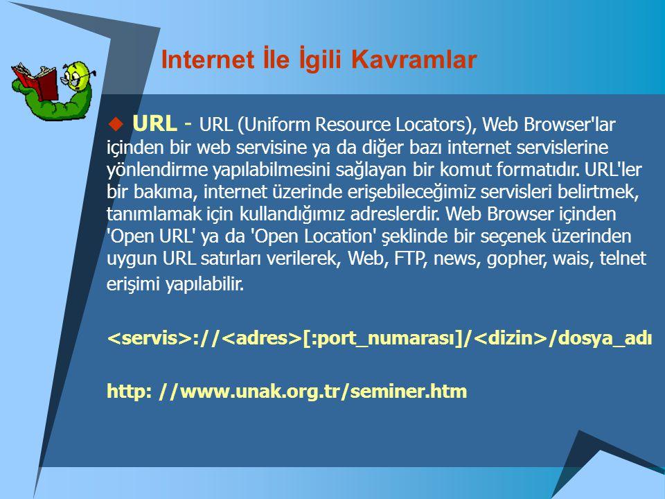 Internet İle İgili Kavramlar  URL - URL (Uniform Resource Locators), Web Browser'lar içinden bir web servisine ya da diğer bazı internet servislerine
